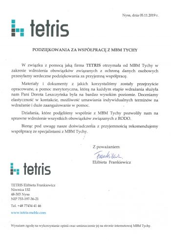 referencje TETRIS- MBM TYCHY-1